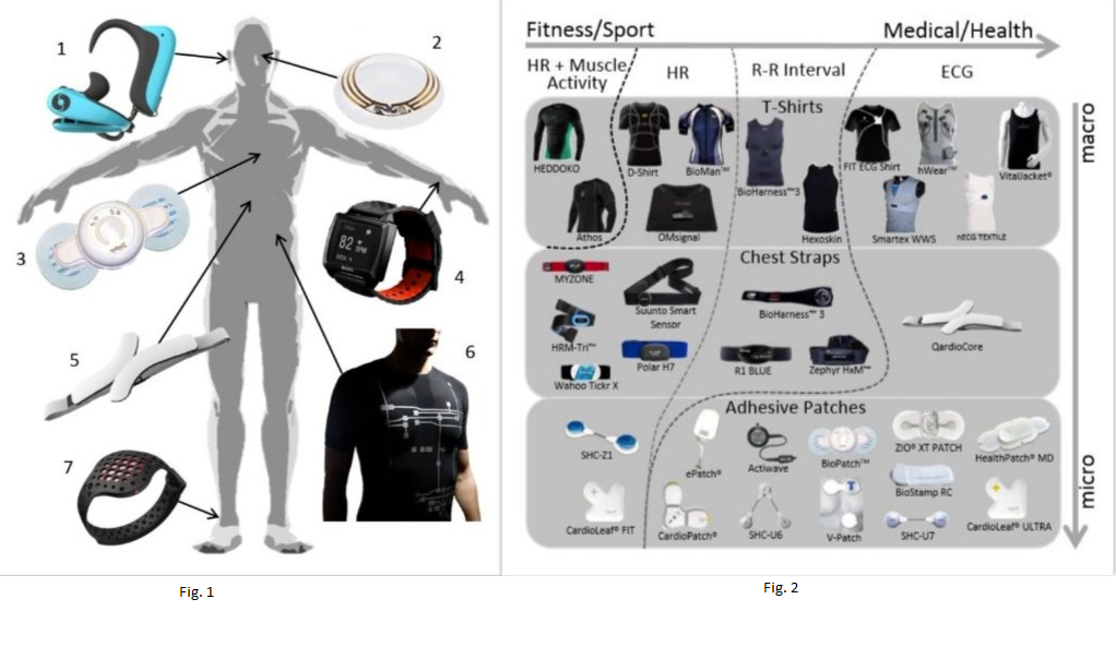 Examples of Wearable Health Devices; and Heart Activity Trackers divided by type